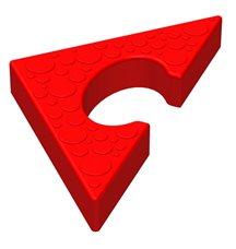 Треугольный элемент пазлового покрытия для игровых площадок Leco-IT красный